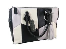 Guess Logo Purse Large Satchel Hand Bag Tassel Tote Black Multi Checkers... - $118.79