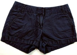 J Crew Women's Broken In Chino Shorts Size 4 Solid Blue 4 Pockets - $19.80