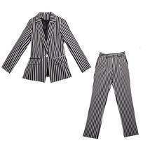 Womens Popular Brand Designer Pinstripe Slim Fit 2 Piece Pants Suit image 5