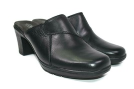 Clarks Bendables Women's Mules Black Leather Shoes Slip On Sz 8M Fits like a 7.5 - $29.69