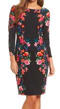 Eliza J Floral Sheath Dress 6 Medium Black Pink Crepe Structured Lined Back Vent - $112.24