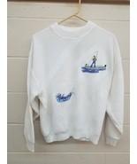 Vtg White Cotton Crewneck Fisherman Fishing Outdoor Sweater XL Winona Kn... - $20.20