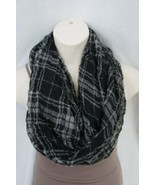 Echo Design Infinity Loop Black Yellow Plaid Viscose Blend Weave Cowl Sc... - $14.27