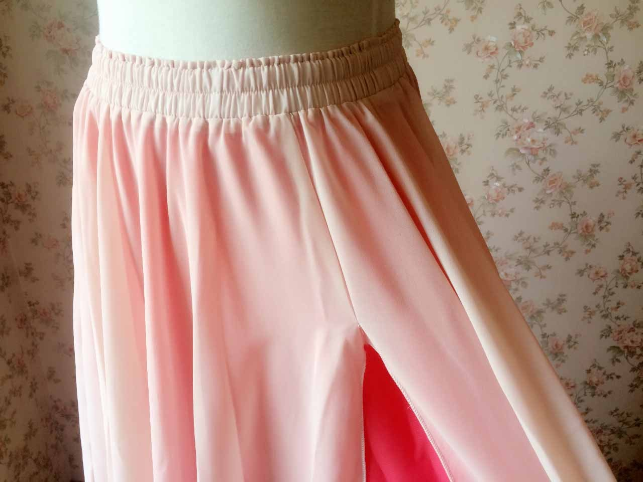 BLUSH PINK Side Split Long Chiffon Skirt Women Maxi Skirt Beach Skirts NWT