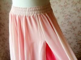 BLUSH PINK Side Split Long Chiffon Skirt Women Maxi Skirt Beach Skirts NWT image 4