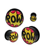 "PAIR-Comics POW Acrylic Single Flare Ear Plugs 20mm/13/16"" Gauge Body Je... - $9.99"