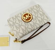 Michael Kors Fulton Large Flat Multi-Function Phone Case Wallet/Wristlet Vanilla - $99.00