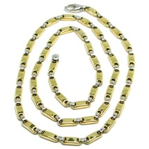 18K YELLOW WHITE GOLD CHAIN, TUBE AND OVAL ALTERNATE LINK, 20 INCHES, ITALY MADE image 1