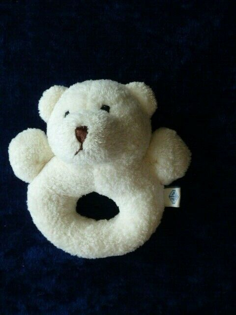 Primary image for Pottery Barn Kids Stuffed Plush Cream Ivory Teddy Bear Baby Ring Rattle Toy