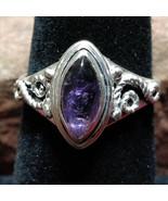Amethyst Silver handmade gemstone ring size 7 #021 - $30.00