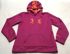 Under Armour Storm Girls Youth XL Pink Orange Plaid Big Logo Hoodie Swea... - $16.99