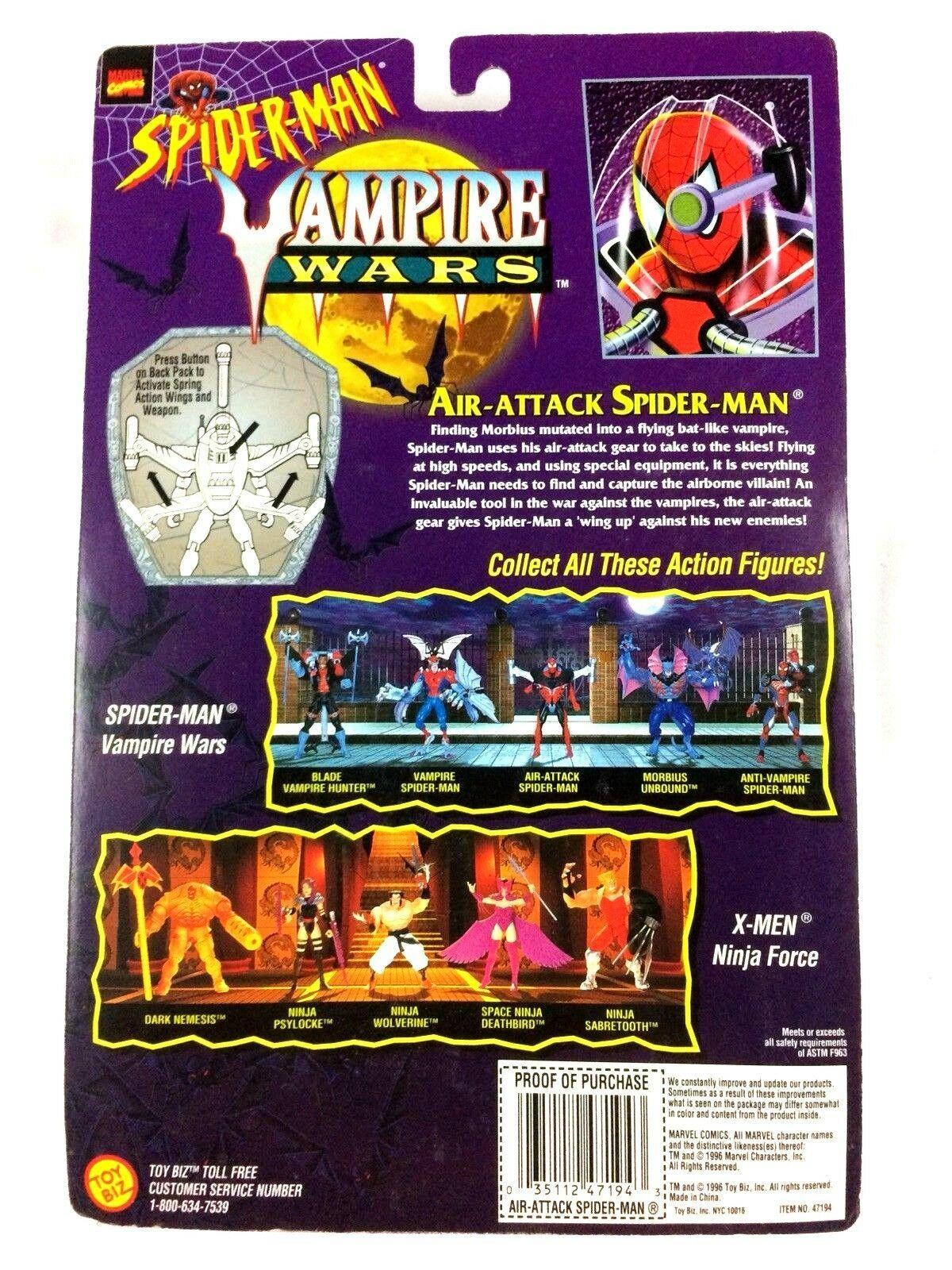 Spider-Man Air Attack Action Figure Marvel ToyBiz Vampire Wars 1996 New Sealed