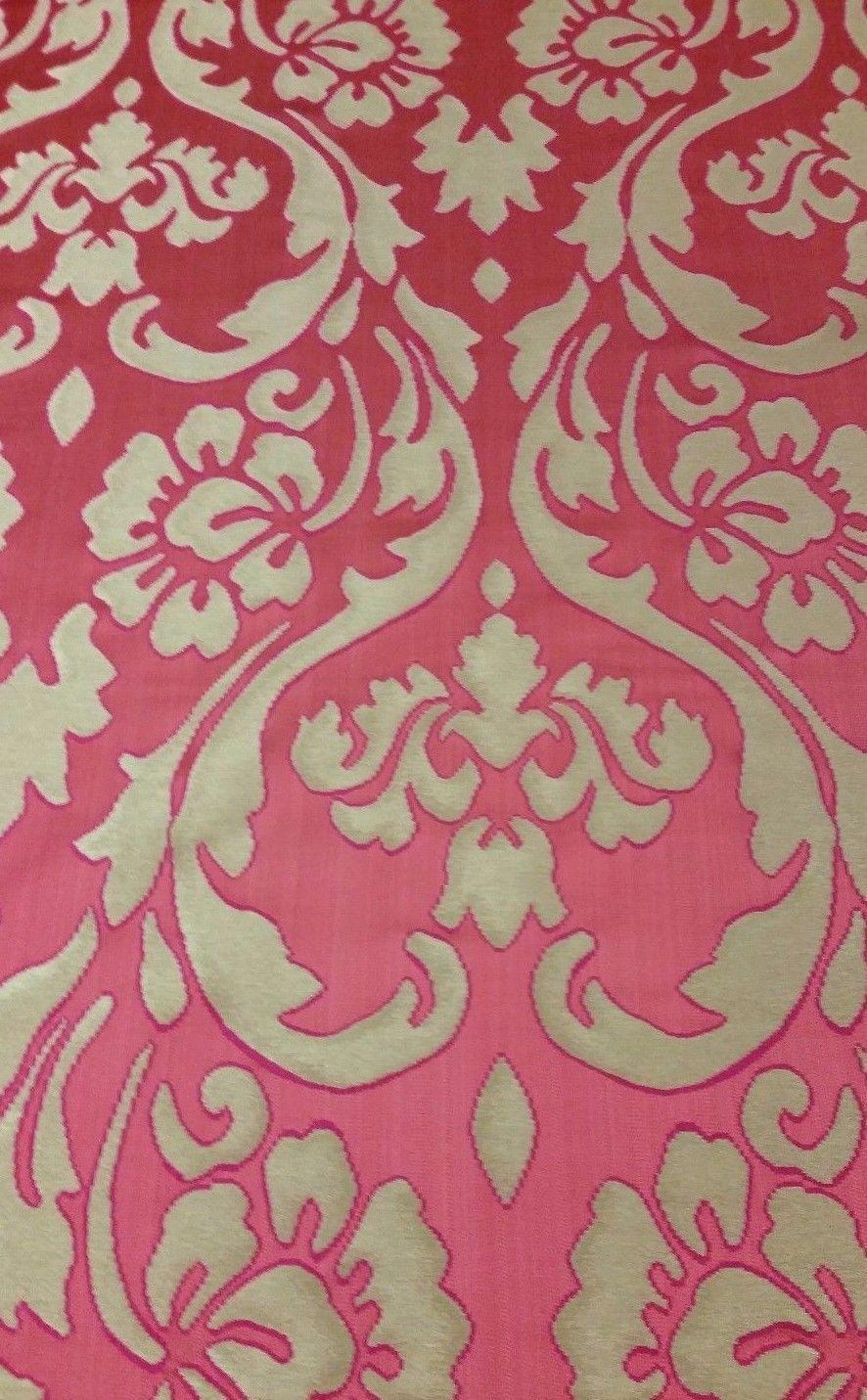 Walfab Tela para Tapizar Rosa y Dorado Floral Brocado 4.9m RF2