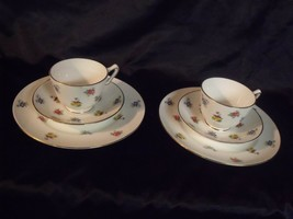 (2) Crown Staffordshire Fine Bone China Rose Pansy Lunch Sets Cup Sauce... - $54.45
