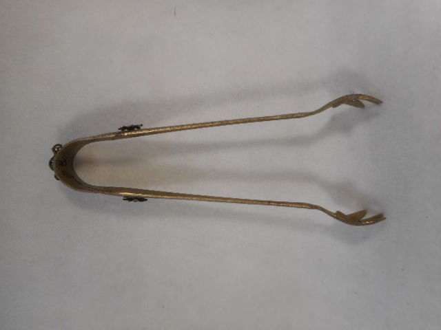 "Vintage Hand Hammered 7"" Jeweled Pickle Sugar Ice Tongs  with Claw Feet"