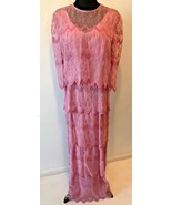 Vintage Glamourous Miss Agnes K Pink Tiered Formal MOB Dress size XL DS18 - $19.95
