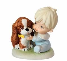 Homco Home Interior porcelain figurine sculpture gift vtg baby boy puppy... - $24.70