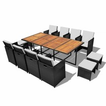 vidaXL Outdoor Dining Set 33 Piece Poly Rattan Wicker Acacia Black Table... - $888.99