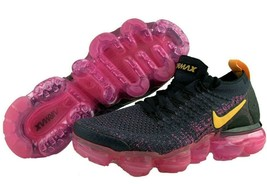 Nike Vapormax Flyknit Womens Size 5 Running Shoes Pink Black YellowSneakers - $111.22