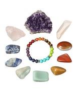 11PCS Gemstones Crystal Quartz Set Chakra Bracelet Rose Crystal Quartz A... - $29.69