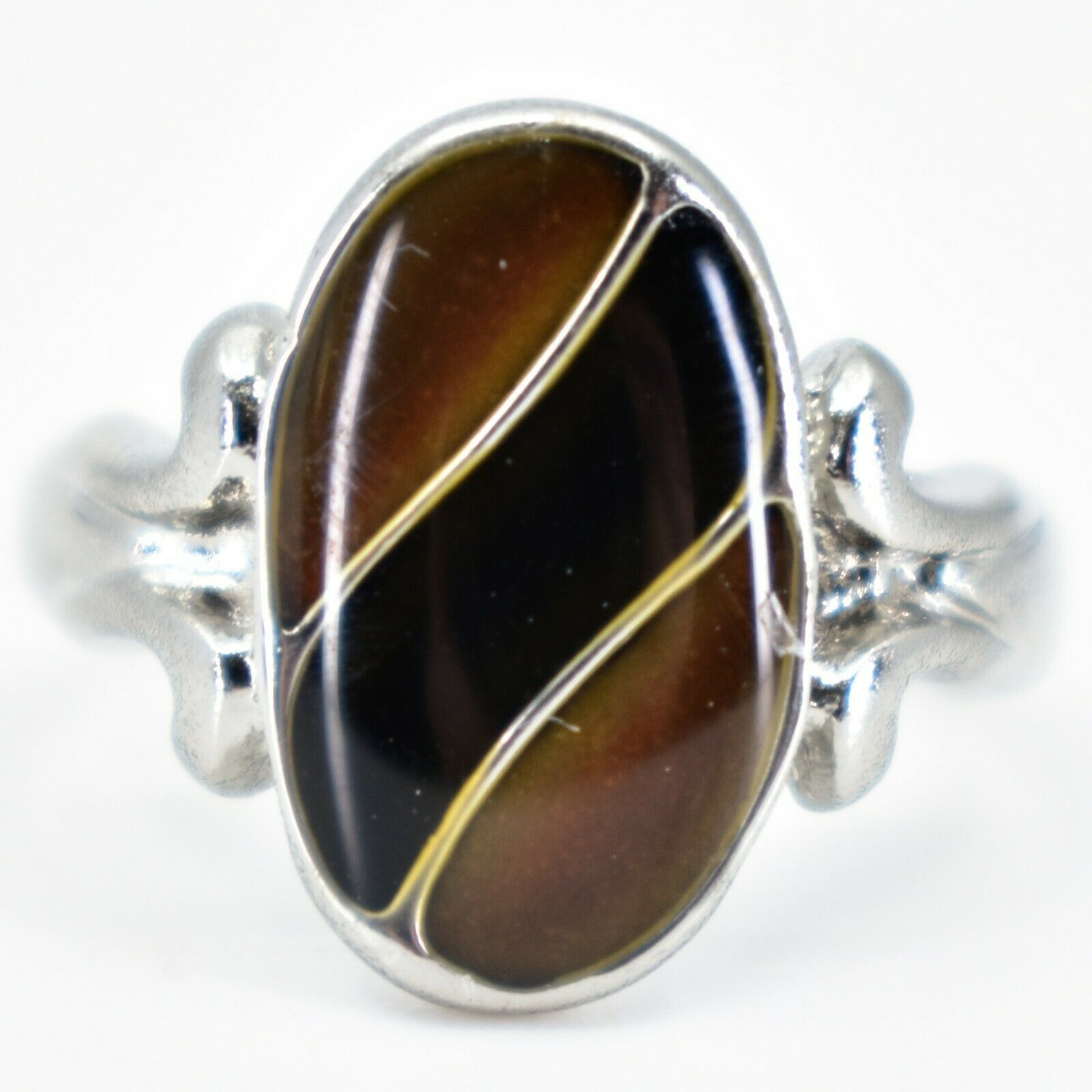 Oval & Ribbon Shaped Multi-Color Changing Contrasting Silver Painted Mood Ring