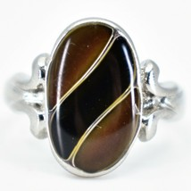 Oval & Ribbon Shaped Multi-Color Changing Contrasting Silver Painted Mood Ring image 1