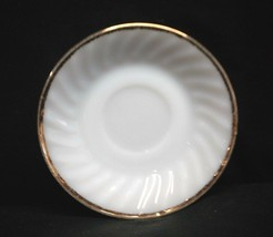 Old Vintage Fire King Oven Ware Saucer White Swirl Gold Trim Kitchen Tool USA - $8.90