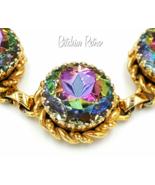 Vintage Schiaparelli Rhinestone Necklace Pastel Colors Designer Bridal - $245.00