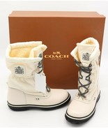 NIB Coach Sage White Lace-Up Cold Weather Winter Boots New 5.5 35.5 - $185.00