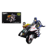 1966 Batcycle Elite Edition and Side Car with Batman and Robin Figures 1... - $185.13