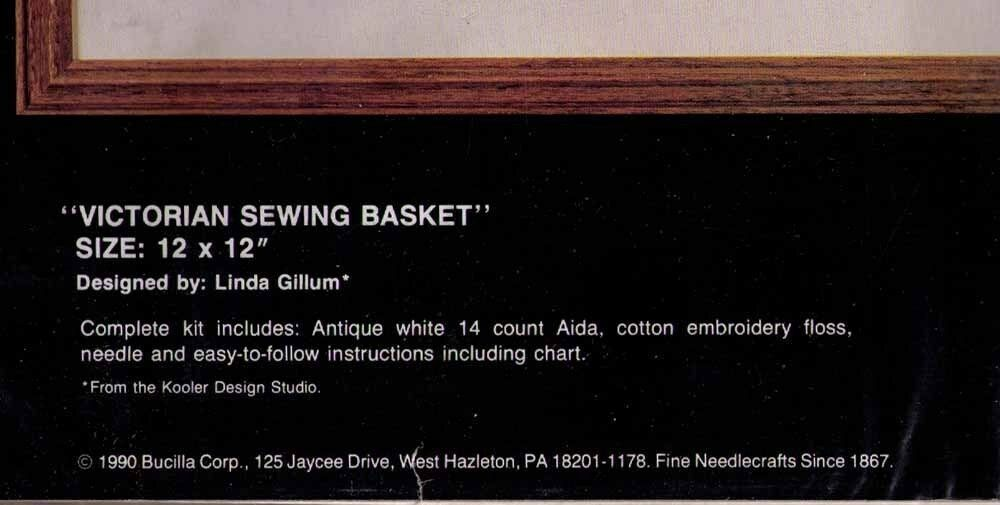 VICTORIAN SEWING BASKET - Bucilla Counted Cross-Stitch Kit © 1990