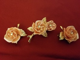 Vintage Pink Rose Broach/ Pin and Earrings Set Unmarked - $19.75