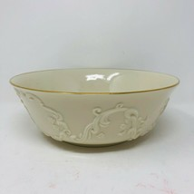 "Lenox Scroll Imprint 9.5"" Serving Bowl Holiday Ivory Gold Trim Raised USA  - $34.64"