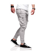 Men Solid Color Casual Slacks Fashion Soft Cotton Sports Jogging Pants g... - $24.36