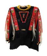 New Latest Native American Beaded Black Leather Powwow Regalia War Shirt... - $499.00