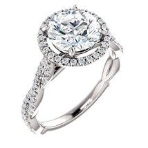 3.00 Carat F VVS2 Natural Diamond Solitaire Halo Ring in 14k Gold  - $25,000.00