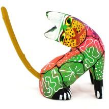Oaxacan Alebrijes Copal Wood Carved Painted Folk Art Sitting Cat Kitten Figurine