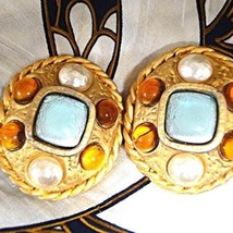 Authentic CHANEL Vintage Gold ColorStone Clip Earrings HCE161 - $406.30
