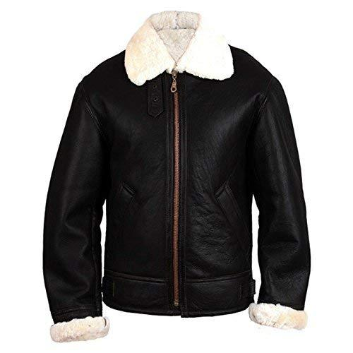 B3 Aviator Pilot Flying White Fur Shearling  Black Bomber Genuine Leather Jacket