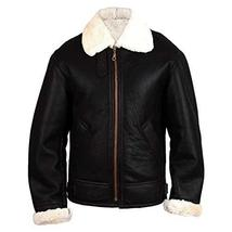 B3 Aviator Pilot Flying White Fur Shearling  Black Bomber Genuine Leather Jacket image 1
