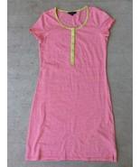 Lands' End Girls Small (6-8) Dress Cotton Shirt Dress Orange Striped - $15.83