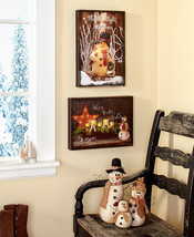 Lighted Lit Wall Art Sign Family Country Christmas Snowman Winter Plaque... - $24.99