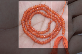Natural Orange Carnelian Micro Faceted Rondelle Gemstone Beads  3.5 MM 1... - $9.85