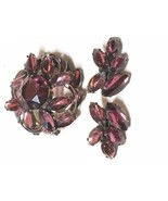 Vintage MADELEINE Brooch and Earring Set by DeLizza and Elster Purple St... - $40.49