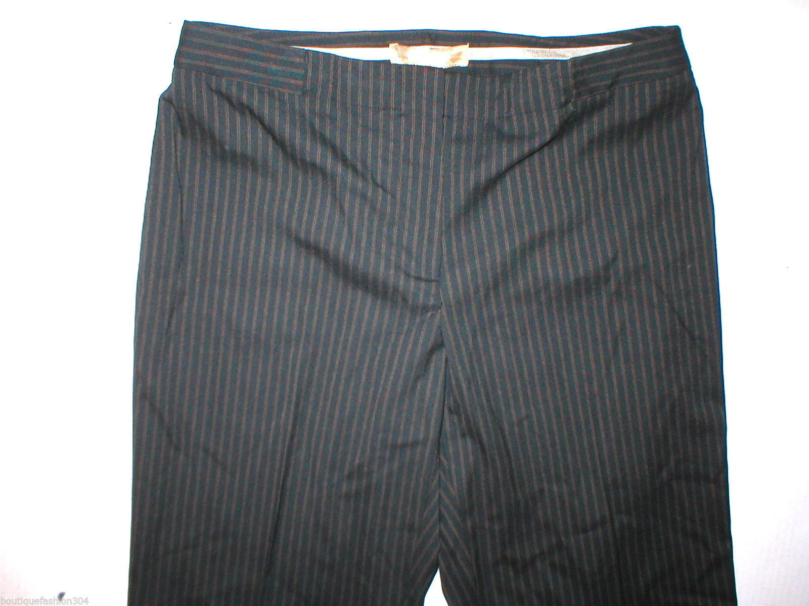 NWT $100 Ellen Tracy Straight Leg Pants Work 6 Black Stripes 30 X 32 Womens New