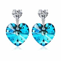 PLATO H Women Heart Drop Earrings with Crystal from Swarovski, Love (Blue) - $28.05