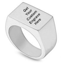 14k White Gold Finish 925 Sterling Silver Men's Rectangle Ring With Free... - $78.90