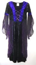 Vampiress Corset Dress Medieval Purple Black Velvet Costume Goth Long JR Large - $33.65