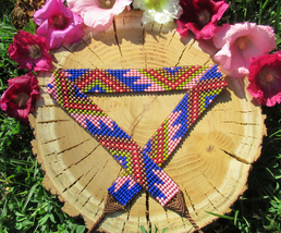 Ethnic Beaded Belt ~ Elegant Native Ancestral Beadwork ~Boho Chic Hippie... - $38.00