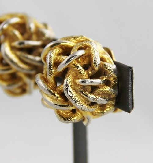 RARE KJL 60s/70s KENNETH JAY LANE Runway COUTURE CHUNKY BOLD KNOT CLIP EARRINGS